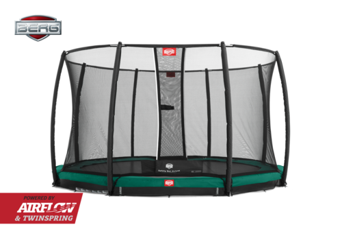 BERG InGround Champion 330 + Safety Net Deluxe 330 - Airflow springmat - groen