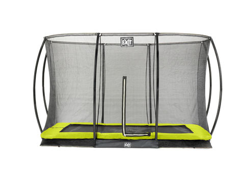 EXIT Silhouette Ground trampoline met net - 244 x 366 cm - lime