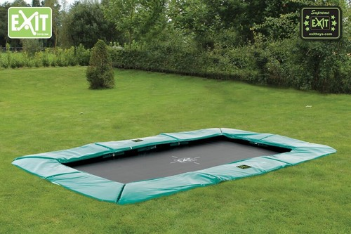 EXIT Supreme Ground Level Rect. trampoline - 214 x 366 cm - donkergroen