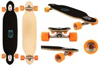 "Nijdam Longboard 38"" Drop-through - Criss Cross - Blank/Fluororanje /Azuurblauw"