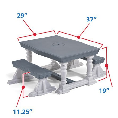 Step2 3 Piece Farmhouse Table & Bench Set