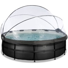 exit-black-leather-zwembad-o488x122cm-met-overkapping-en-zandfilterpomp-zwart
